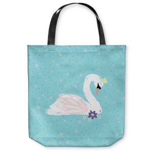 Unique Shoulder Bag Tote Bags   Metka Hiti - Swan 1 Teal   Natue bird lake