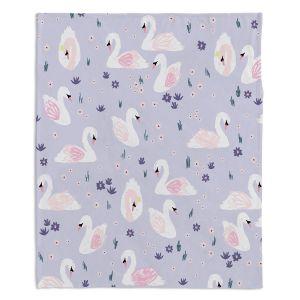Decorative Fleece Throw Blankets | Metka Hiti - Swans Light Purple | Natue bird lake pattern repetition