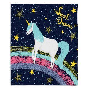 Decorative Fleece Throw Blankets | Metka Hiti - Unicorn Dreams Rainbow | Rainbow Fantasy Space Stars