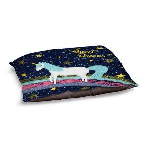 Decorative Dog Pet Beds | Metka Hiti - Unicorn Dreams Rainbow | Rainbow Fantasy Space Stars