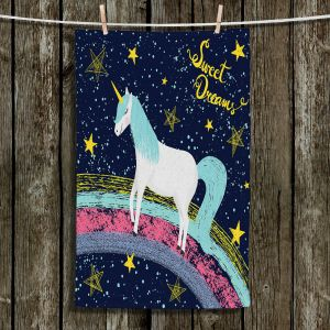 Unique Hanging Tea Towels | Metka Hiti - Unicorn Dreams Rainbow | Rainbow Fantasy Space Stars