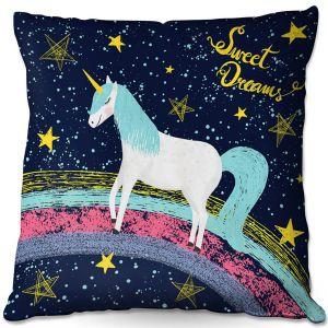 Throw Pillows Decorative Artistic | Metka Hiti - Unicorn Dreams Rainbow | Rainbow Fantasy Space Stars