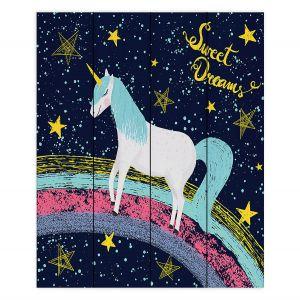 Decorative Wood Plank Wall Art   Metka Hiti - Unicorn Dreams Rainbow   Rainbow Fantasy Space Stars