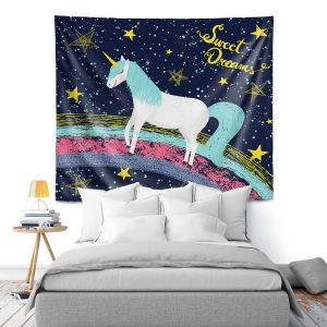 Artistic Wall Tapestry   Metka Hiti - Unicorn Dreams Rainbow   Rainbow Fantasy Space Stars