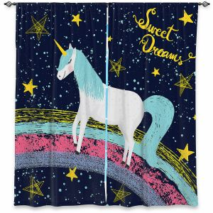 Decorative Window Treatments | Metka Hiti - Unicorn Dreams Rainbow | Rainbow Fantasy Space Stars