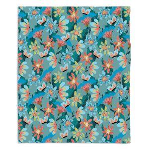 Decorative Fleece Throw Blankets | Metka Hiti - Whimsical Flowers | Nature Flowers Patterns