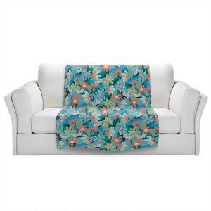 Artistic Sherpa Pile Blankets | Metka Hiti - Whimsical Flowers | Nature Flowers Patterns