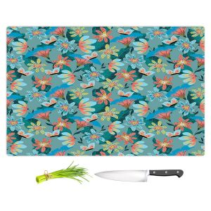 Artistic Kitchen Bar Cutting Boards | Metka Hiti - Whimsical Flowers | Nature Flowers Patterns