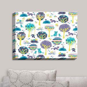 Decorative Canvas Wall Art | Metka Hiti - Woodland Animals Teal Violet | Animals Trees Nature