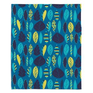 Artistic Sherpa Pile Blankets | Metka Hiti - Woodland Leafs Blue | Leaves pattern repetition graphic