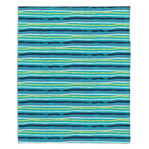 Decorative Fleece Throw Blankets | Metka Hiti - Woodland Stripe | Lines pattern graphic