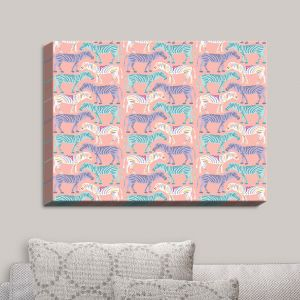 Decorative Canvas Wall Art | Metka Hiti - Zebras Pink | Zebras Patterns