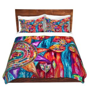 Artistic Duvet Covers and Shams Bedding | Michele Fauss - Revive | Abstract pattern shapes flower