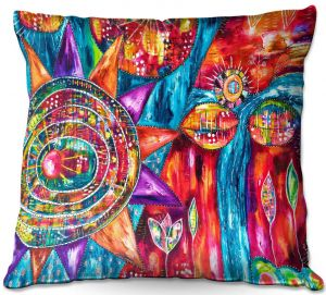Decorative Outdoor Patio Pillow Cushion | Michele Fauss - Revive | Abstract pattern shapes flower