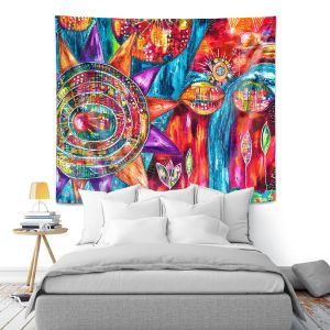 Artistic Wall Tapestry | Michele Fauss - Revive | Abstract pattern shapes flower