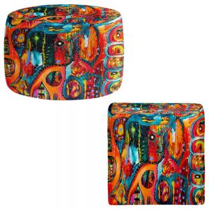 Round and Square Ottoman Foot Stools | Michele Fauss - Abstract Elephant