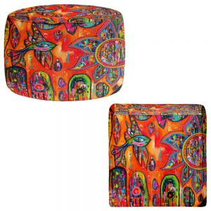 Round and Square Ottoman Foot Stools | Michele Fauss - Flying Fish
