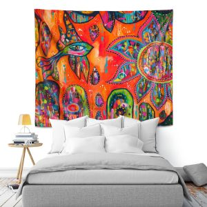 Artistic Wall Tapestry | Michele Fauss Flying Fish
