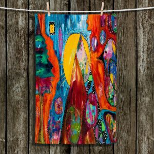 Unique Hanging Tea Towels | Michele Fauss - I Surrender | abstract landscape tree mountain