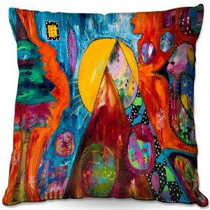 Decorative Outdoor Patio Pillow Cushion | Michele Fauss - I Surrender | abstract landscape tree mountain