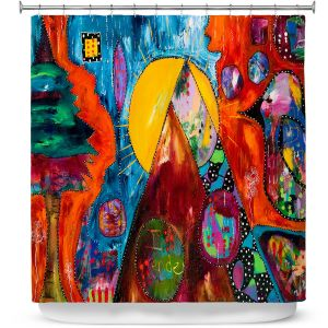 Premium Shower Curtains | Michele Fauss - I Surrender | abstract landscape tree mountain