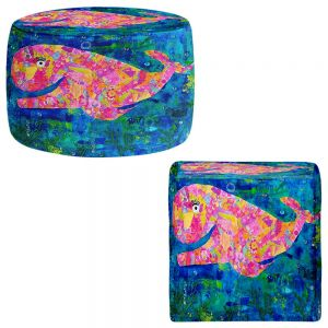 Round and Square Ottoman Foot Stools | Michele Fauss - Wilma the Whale