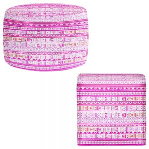 Round and Square Ottoman Foot Stools | Nika Martinez - Ethnic Bandana II