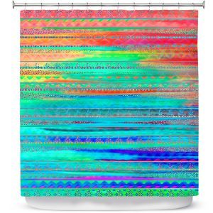 Unique Shower Curtains 71w x 74h Inches from DiaNoche Designs by Nika Martinez  - Ethnic Sunset