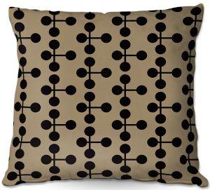 Throw Pillows Decorative Artistic | Nika Martinez - Mid Century Dottie Chocolate