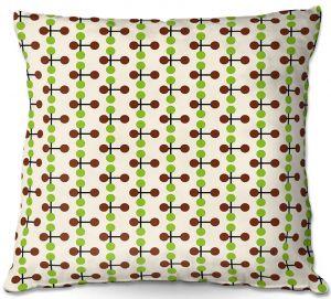 Decorative Outdoor Patio Pillow Cushion | Nika Martinez - Mid Century Dottie Chocolate Lima