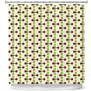 Premium Shower Curtains | Nika Martinez - Mid Century Dottie Chocolate Lima