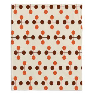 Decorative Fleece Throw Blankets | Nika Martinez - Mid Century Dottie Orange Chocolate