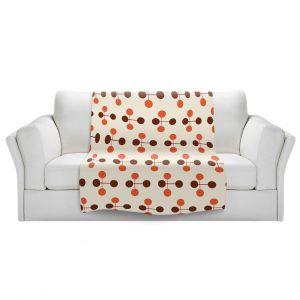 Artistic Sherpa Pile Blankets | Nika Martinez - Mid Century Dottie Orange Chocolate
