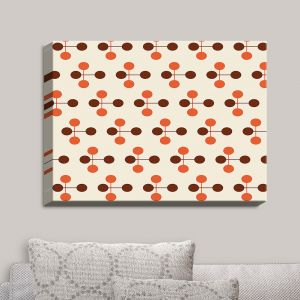 Decorative Canvas Wall Art | Nika Martinez - Mid Century Dottie Orange Chocolate | Patterns