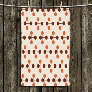 Unique Bathroom Towels | Nika Martinez - Mid Century Dottie Orange Chocolate