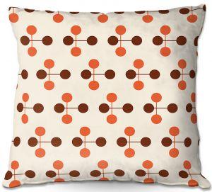 Throw Pillows Decorative Artistic | Nika Martinez - Mid Century Dottie Orange Chocolate