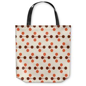 Unique Shoulder Bag Tote Bags | Nika Martinez - Mid Century Dottie Orange Chocolate