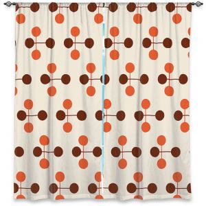 Unique Window Curtains Unlined 40w x 52h from DiaNoche Designs by Nika Martinez - Mid Century Dottie Orange Chocolate