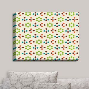 Decorative Canvas Wall Art | Nika Martinez - Mid Century Flower Chocolate Lima | Patterns