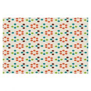 Decorative Floor Coverings | Nika Martinez - Mid Century Flower Orange