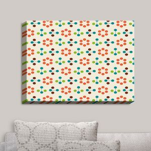 Decorative Canvas Wall Art | Nika Martinez - Mid Century Flower Orange | Patterns
