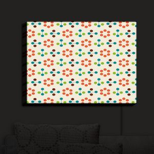 Nightlight Sconce Canvas Light | Nika Martinez - Mid Century Flower Orange | Patterns