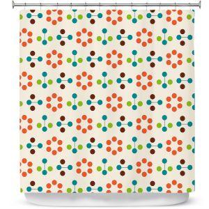 Premium Shower Curtains   Nika Martinez - Mid Century Flower Orange