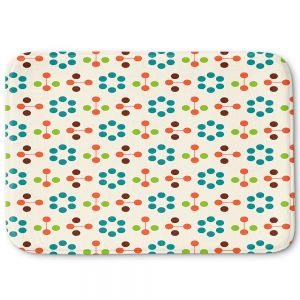 Decorative Bathroom Mats | Nika Martinez - Mid Century Flower Turquoise