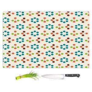 Artistic Kitchen Bar Cutting Boards | Nika Martinez - Mid Century Flower Turquoise