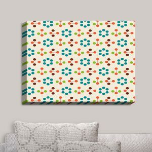 Decorative Canvas Wall Art | Nika Martinez - Mid Century Flower Turquoise | Patterns