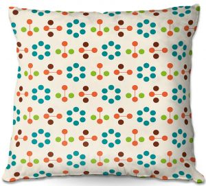 Throw Pillows Decorative Artistic | Nika Martinez - Mid Century Flower Turquoise