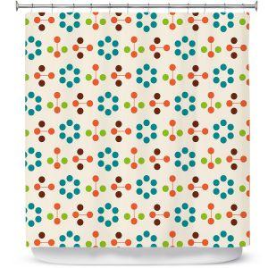 Premium Shower Curtains   Nika Martinez - Mid Century Flower Turquoise
