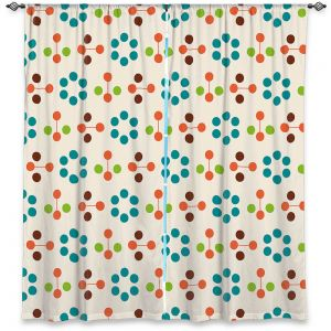 Unique Window Curtain Unlined 40w x 82h from DiaNoche Designs by Nika Martinez - Mid Century Flower Turquoise