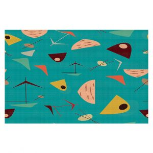 Decorative Floor Coverings | Nika Martinez - Mid Century Hero Blue